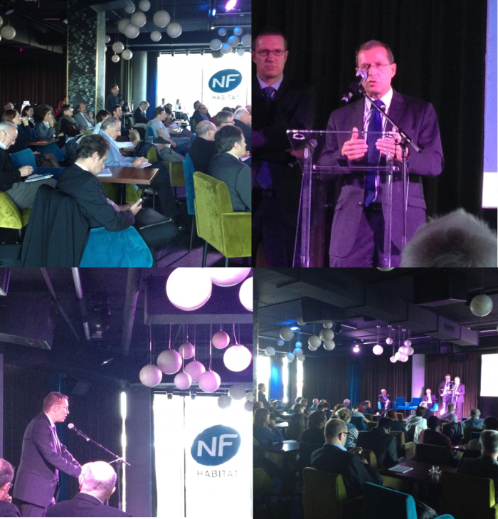 Conférence de presse NF Habitat – 15 septembre 2015: en haut à droite, Antoine Desbarrières, président de Cerqual Qualitel Certification, en bas à gauche, Nicolas Ribière, président de Cequam