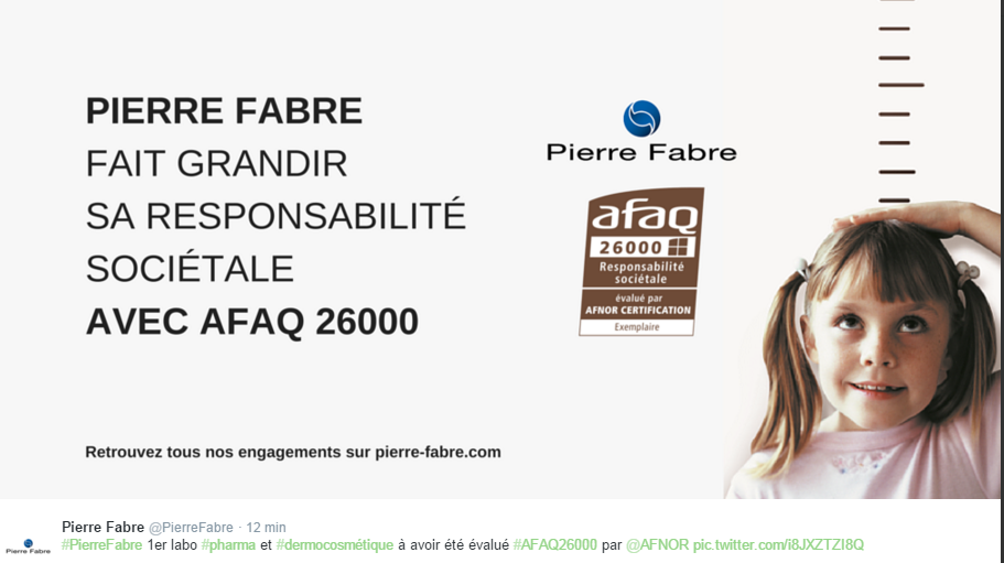 "CSR: Pierre Fabre improves its score from ""Confirmed"" to ""Exemplary"" in its AFAQ 26000 assessment"